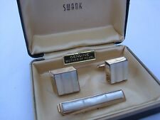 Swank Mother of Pearl Cufflinks and Tie Bar, New Old Stock, Original Box