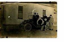 Family Picture by Old Car-Trunk-Spare Tire-RPPC-Real Photo Vintage Postcard