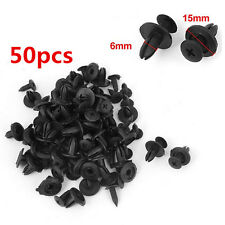 50PCS 6mm Hole Car Bumper Fender Plastic Rivets Fasteners Clip Black For Toyota