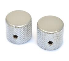 """(2) Chrome Vintage Barrel Knobs for Tele® & P Bass® 1/4"""" Solid Shaft MK-0115-010"""
