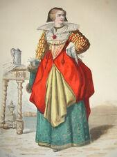 """COSTUME DE PARIS gravure coloriée """"  Dame noble de Paris en 1633"""