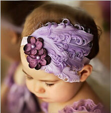 Baby vintage Feather Pad prop 100% headband flower hair band color for Christmas