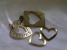 Estate Lot of 4 Goldtone Lacey Outline Cut-out Valentine HEART Charm Pendant –