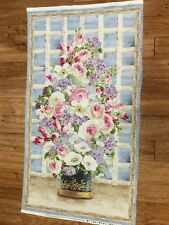 """Breath of Spring Floral Bouquet cotton Fabric Panel quilt / sew 24"""" x 44"""""""