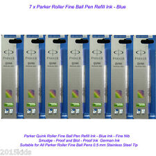 7 Parker Quink Roller Ball Rollerball Pen Blue Refill Fine Nib New Ink US Seller