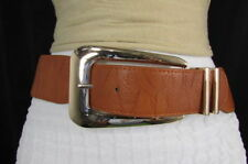 New Women Hip High Waist Brown Elastic Fashion Belt Big Long Metal Buckle XS S