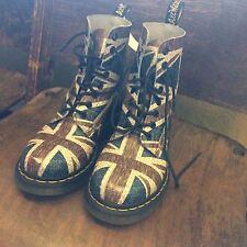 Dr. Marten Pascal Union Jack Lace Up Boot Blue Brown EU 38 Us 7 U.K. 5