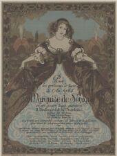 """""""La MARQUISE DE SEVIGNE"""" Affiche d'intérieur orig entoilée A. WUYTS 1924 33x43cm"""