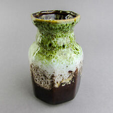 Bay Vase Fat Lava 1960's West German Pottery Mid Century Keramik Green white