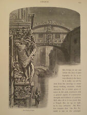 Bridge of Sighs Palazzo Ducale Venice Italy Antique Engraving 1878