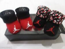 NIB Boys Girls Nike Air Jordan Red Black Baby Newborn Booties Shoes 0-6m