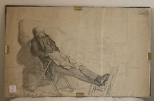 "DRAWING of a Man Resting on 2 Chairs - 19th/20th C. (FRENCH?) -12.5"" x 20"""