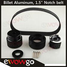 """12A 13B 20B 15mm RX7 FD FC RX3 Gilmer Drive Pulley Kit 1.5"""" Notch Belt Black"""