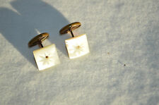 VINTAGE CUFFLINKS MOTHER OF PEARL CARVED STARBURST VICTORIAN BEAN TYPE MOP DECO
