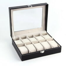 PU Leather 10 Slots Wrist Watch Display Box Storage Holder Organizer Case EA