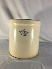 VINTAGE 3 GALLON BLUE CROWN ROBINSON RANSBOTTOM STONEWARE CROCK