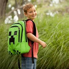 New Children School Minecraft Backpack Creeper Boys Book Bag Waterproof Green