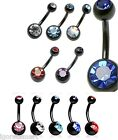 316L Steel Ball Barbell Bar Navel Belly Button Ring Black