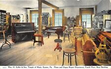 Easton PA Keller & Son Music Store Piano Organ Repair Edison Victor Postcard