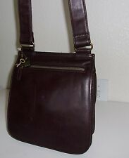 Fossil Small Dark Brown Leather Organizer Crossbody Purse Handbag Shoulder Bag