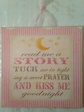 "NEW Shabby PRINCESS Wall Decor Wood Wall Plaque Baby Nursery ""Read Me A Story"""