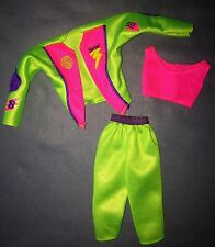 1993 Bicyclin Barbie Doll Outfit #11689 Neon Green Pink Pants Midi Top Jacket