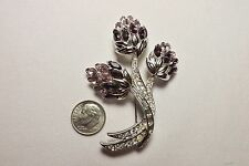 """NOLAN MILLER"" Large Two Tone Purple Rhinestone Flower Silver Tone Brooch Pin"