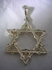 JEWISH STAR PENDANT WITH A DIAMOND CUT FINISH IN STERLING SILVER