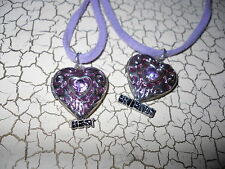Claires BEST FRIENDS Heart Locket Necklaces Purple String Silvertone