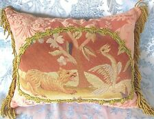 "Antique Needle Point Wool Tapestry Pillow Tiger & Crane Bird 14x16"" Gold Fringe"