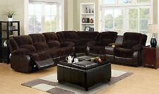 Tirana Sectional Sofa Upholstered in two tone Brown Fabric and Leatherette