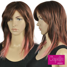 Mid Length Auburn Brown Silky Straight Layered Pink Ombre Wig Fringe Hair