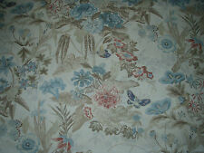 "COWTAN & TOUT FABRIC DESIGN ""Upper Marsh"" 15 METRES TEAL AND CREAM 100% LINEN"