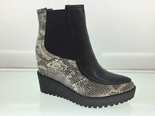 LADIES WOMENS ANKLE HIGH SNAKE LEATHER STYLE WEDGE HEEL PLATFORM BOOTS SIZE 7