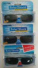 3 SOLAR SHIELD Clip-on Polarized Sunglasses 52 Rec 15 Black lens Frameless