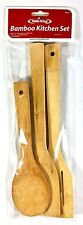 3 Piece Set of Bamboo Kitchen Cooking Utensils tools Spoon Spatula Wooden