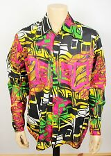 Mens Vtg 70s Style Funky Psychedelic Crazy Print Fresh Prince Festival Shirt M-L