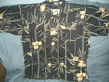 Tommy Bahama 100% Rayon black/gold Floral Hawaiian shirt size large
