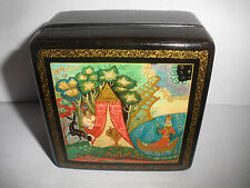 Vintage   Russian Lacquer  hand painted Box  signed dated 1985