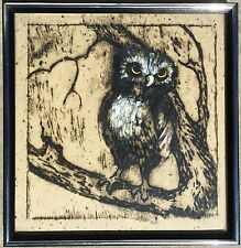 VTG MID CENTURY FRAMED OWL PAINTING SCREEN PRINT SILKSCREEN HAND MADE RICE PAPER