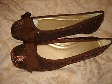 monsoon accessorize shoes bnwt brown flat fabric size 5 eur 38 metallic thread