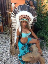 War bonnet, Indian Headdress Real Feathers coiffle indienne Miss Java federhaube