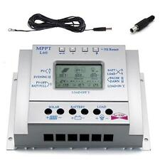LCD 60A MPPT Solar Charge Controller Regulator Three Timer + 16ft Cable US MT