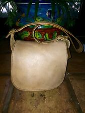 1960s COACH Stewardess Saddle Flap purse in Taupe Beige Leather