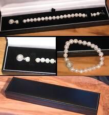 NUOVO Bianco Puro reale D'acqua Dolce Perla Bracciale Con Fibbia Designer in confezione regalo