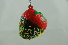 Kawaii Strawberry Squishy Bun Chocolate Dipped Sprinkles Cell Phone Strap