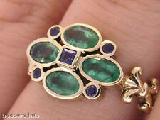 R139- Genuine  9ct Solid Gold NATURAL Emerald & Sapphire Blossom Ring size N