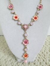 NWT Aut Betsey Johnson Memoirs of Betsey Pink Flower Charm Chain Y Drop Necklace