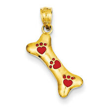 14k Yellow Gold Dog Bone with Red Enamel Paw Prints Pendant. Metal Wt- 0.56g