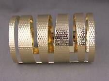 Gold hammered metal bangle cuff wide bracelet pharoah toga cleopatra costume